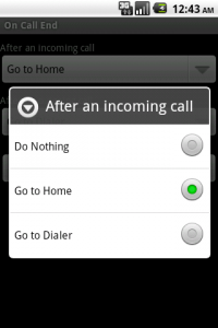 On Call End Options to navigate after a call