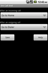 On Call End settings