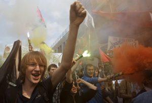 Леви протестиращи на 1 май в Киев, Украйна, 2011