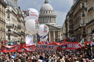Леви протестиращи в Патриж, 1 май 2009
