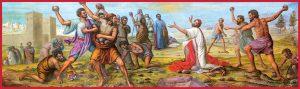 Катина изобразяваща убийството с камъни на Свети Стефан